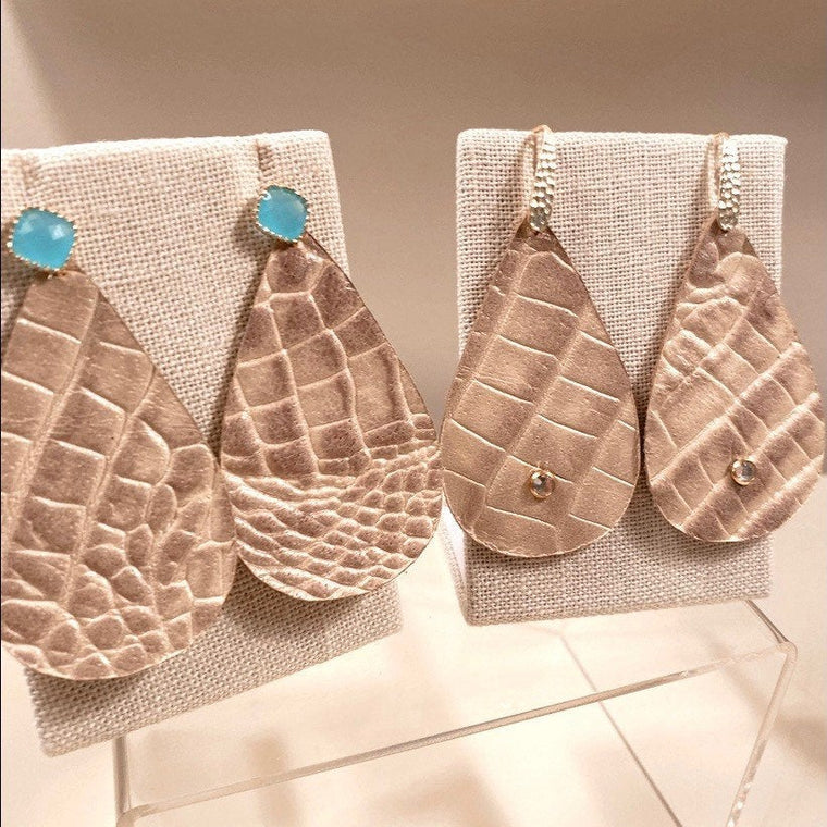 Holly Shae Crocodile Embossed Champagne Leather Earrings