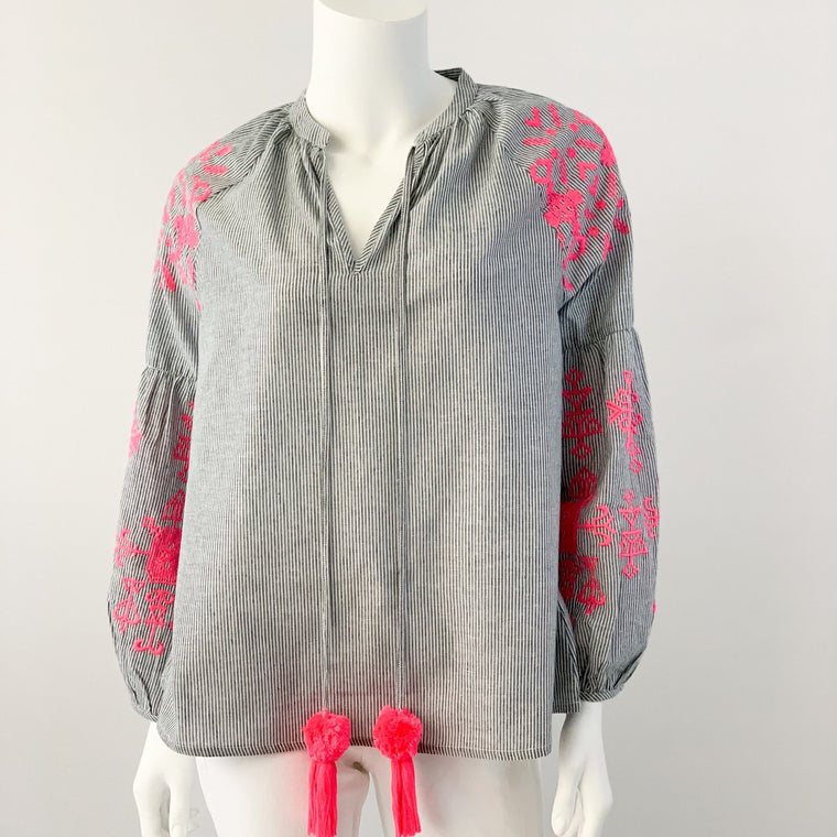 Madison Tunic - Striped with Neon Pink Embroidery