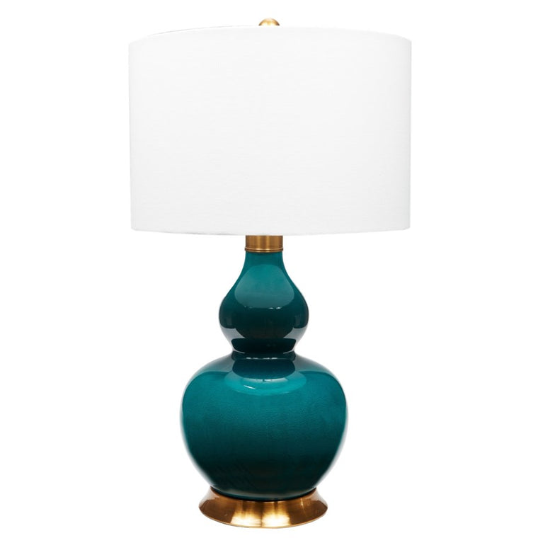 Porcelain Emerald Green Lamp With Antique Brass