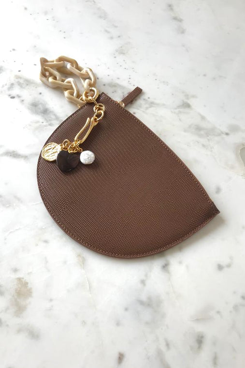 Crescent Clutch in Dark Brown Lizard