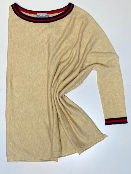Oatmeal Sweater  With Stripe Detail