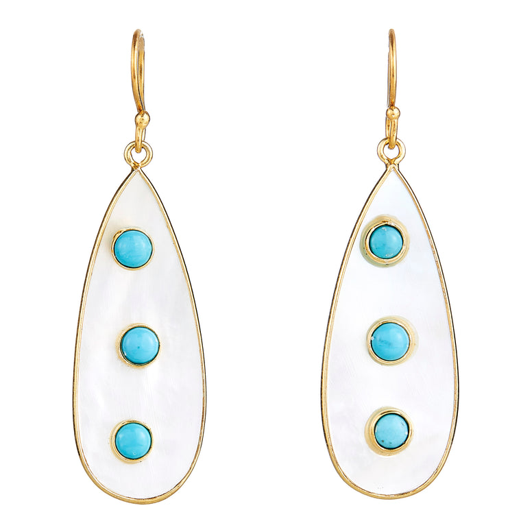 Elyssa Bass - Turquoise & Mother of Pearl Drops