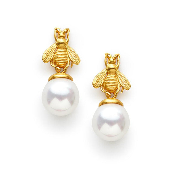 Gold Bee Drop Pearl Earrings Julie Vos| Two Friends St. Simons Island