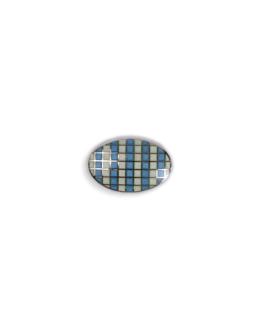 Handmade Enamel Lt.Blue & White Oval Crosshatch Sterling Silver Cufflinks