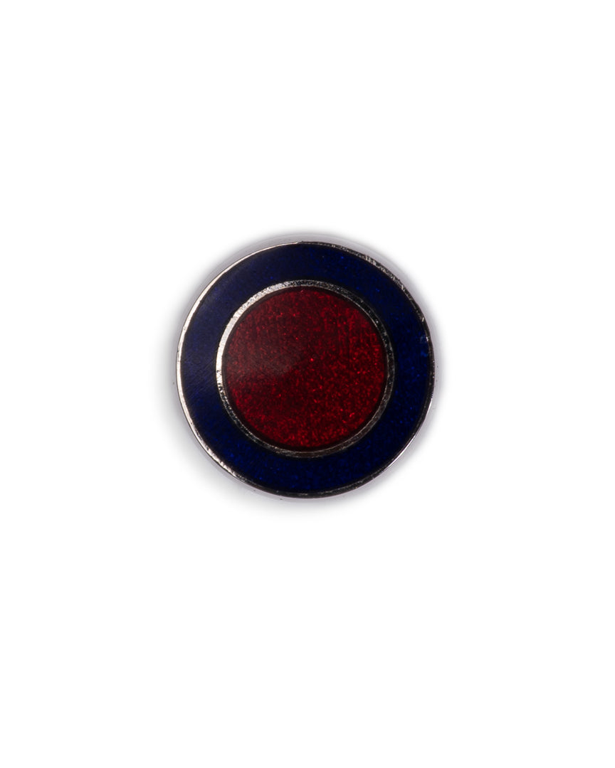 Handmade Enamel Navy & Wine Button Circle Rhodium Cufflinks