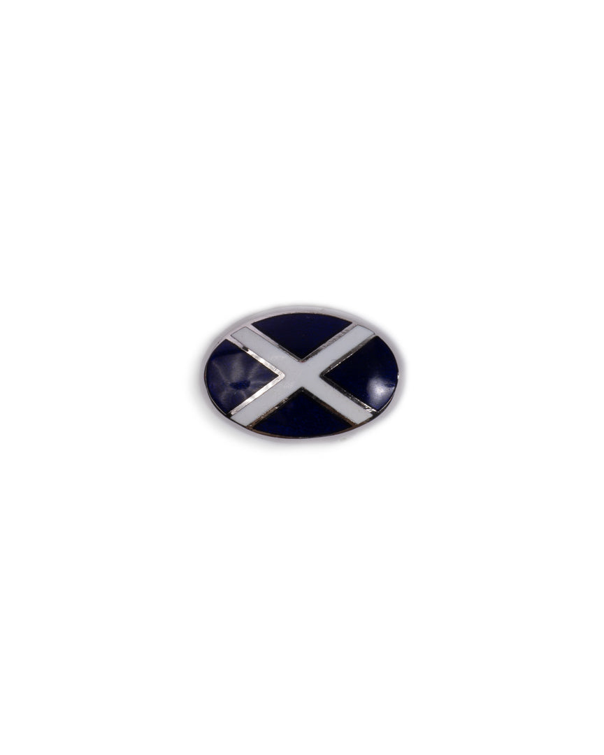 Handmade Enamel Navy & White Oval Cross Rhodium Cufflinks