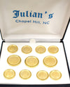 UNC Seal 3x8 Gold Satin Rimmed Blazer Button Sets