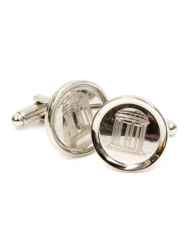 Old Well Rhodium Rimmed Cufflinks