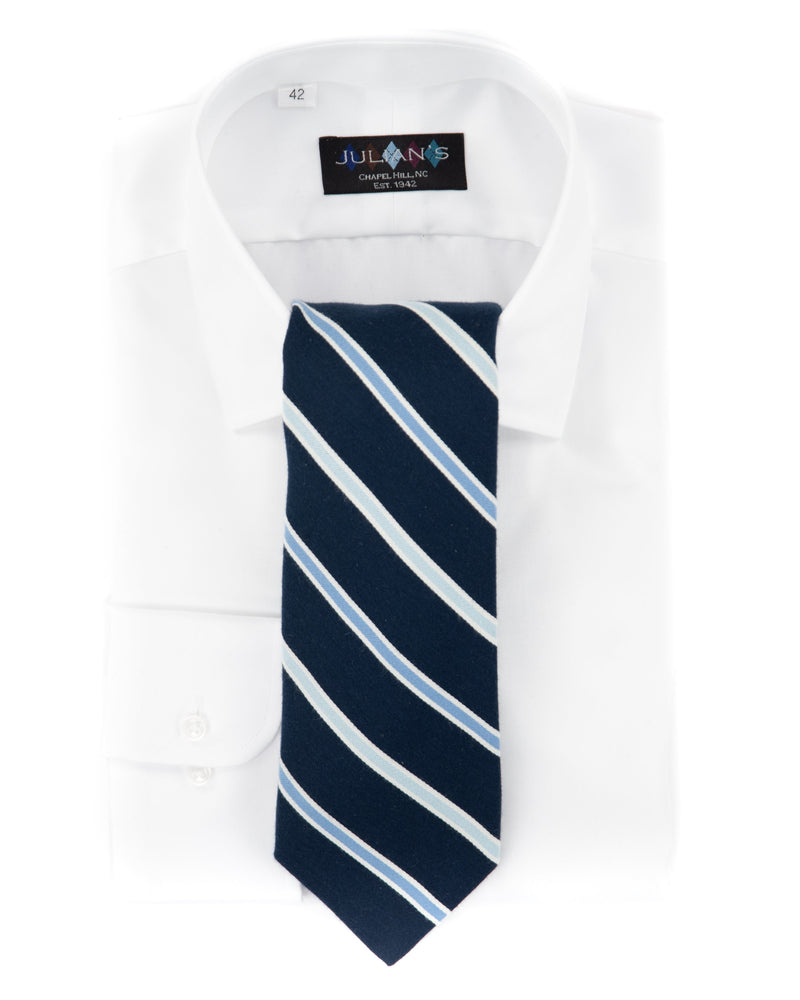 Sateen Pima Cotton Navy & Blue Stripe Necktie