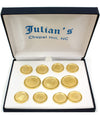 Old Well 3x8 Gold Satin Rimmed Blazer Button Set
