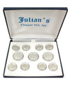 UNC Seal 3x8 Rhodium Satin Rimmed Blazer Button Set