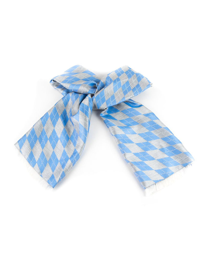 Argyle Silk Scarf Grey/Carolina Blue