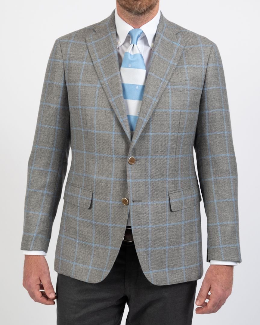 Loro Piana True Blues Pearl Grey Windowpane Sportcoat