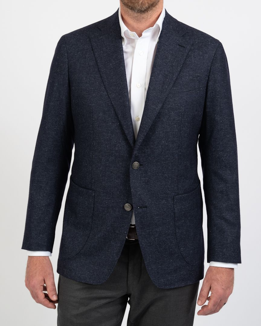Ink Blue Flannel Pindot Blazer