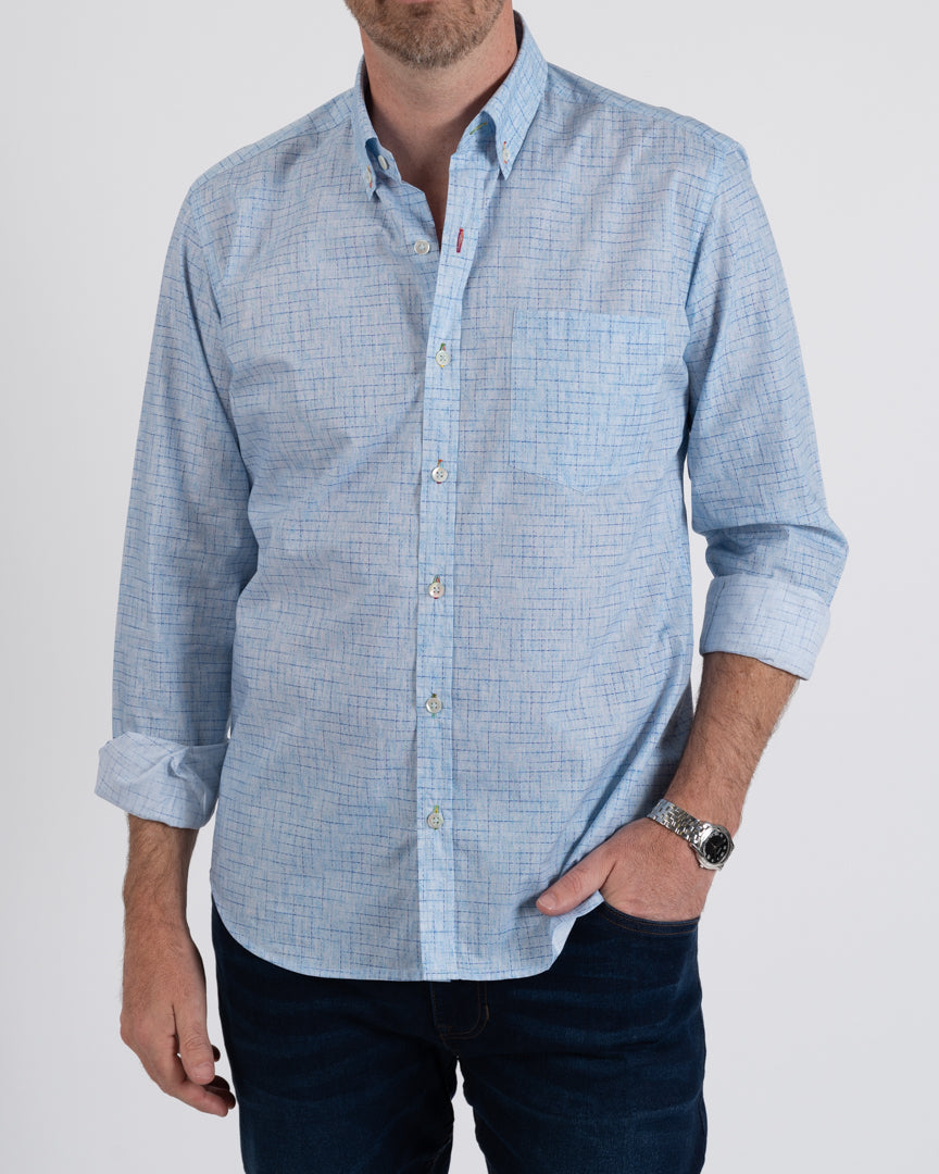 Sky Fade Cotton Check Shirt