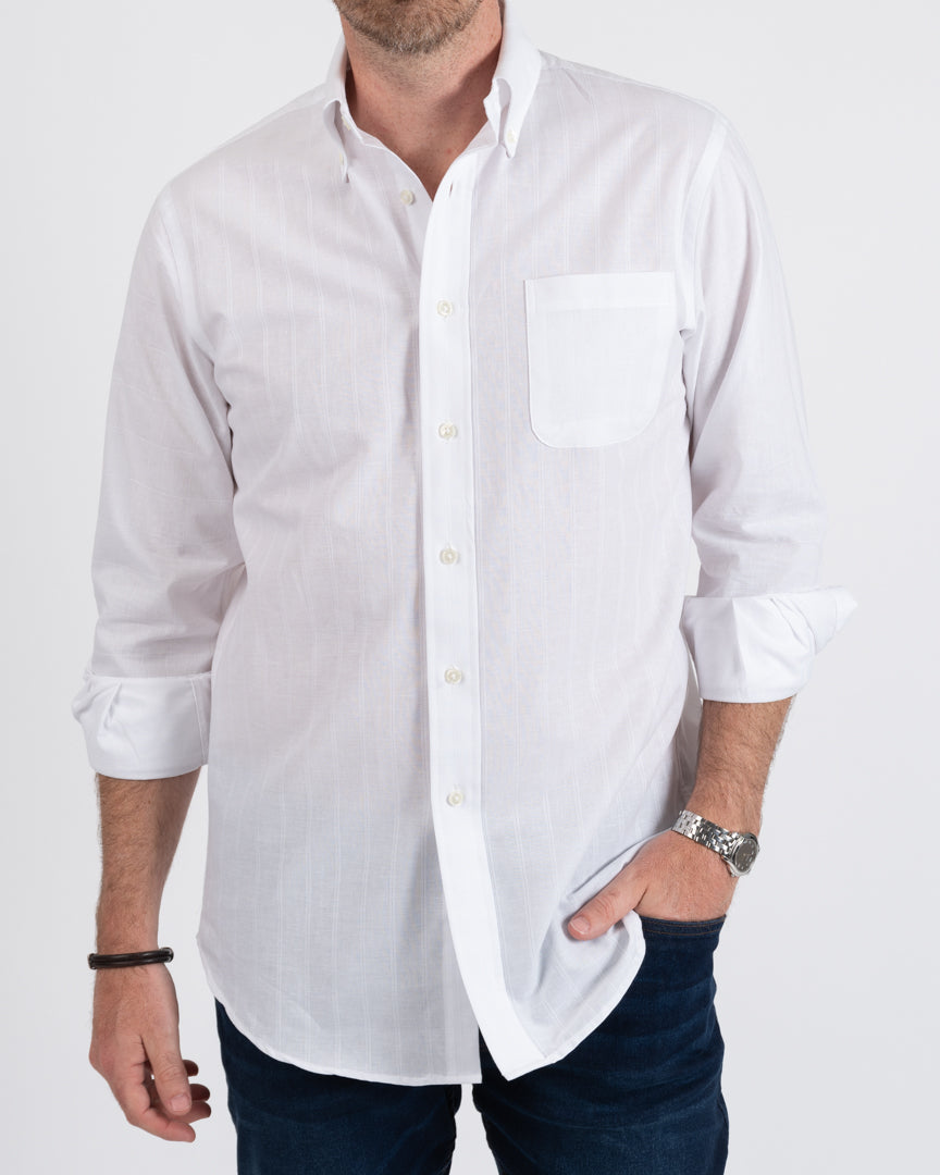 White Tonal Stripe/Squares Buttondown Cotton Shirt