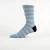 Blue Grey Stripe Heels Sock