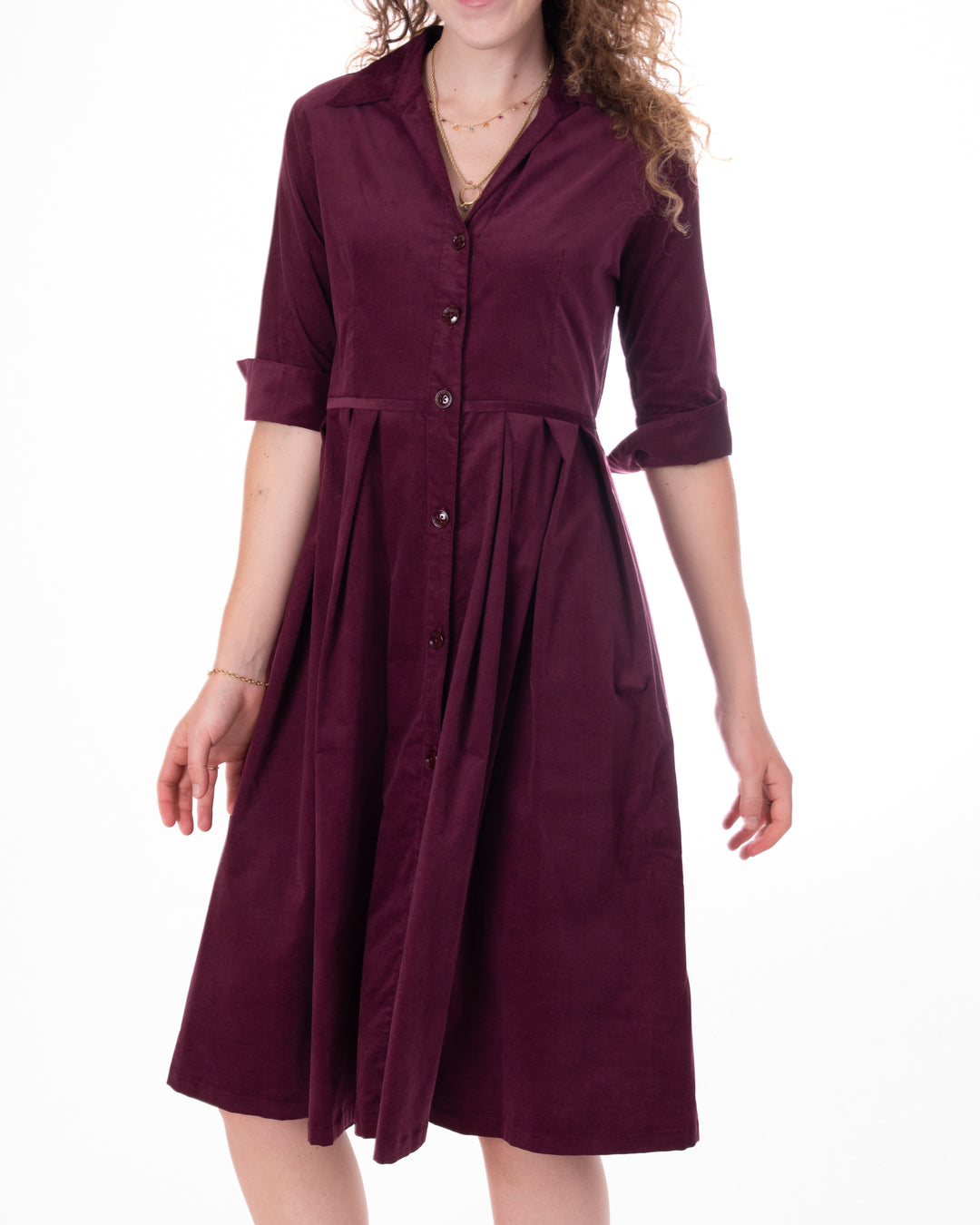 Corduroy Dress Pleat Waist