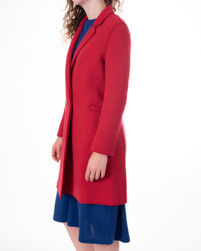 Red Double Breasted Knit Coat