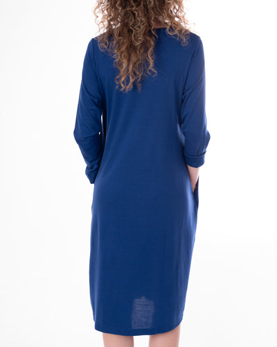 Blue Jersey Knit Crepe Dress