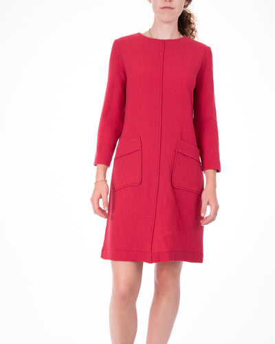 Marcos Red Knit Dress w Patches