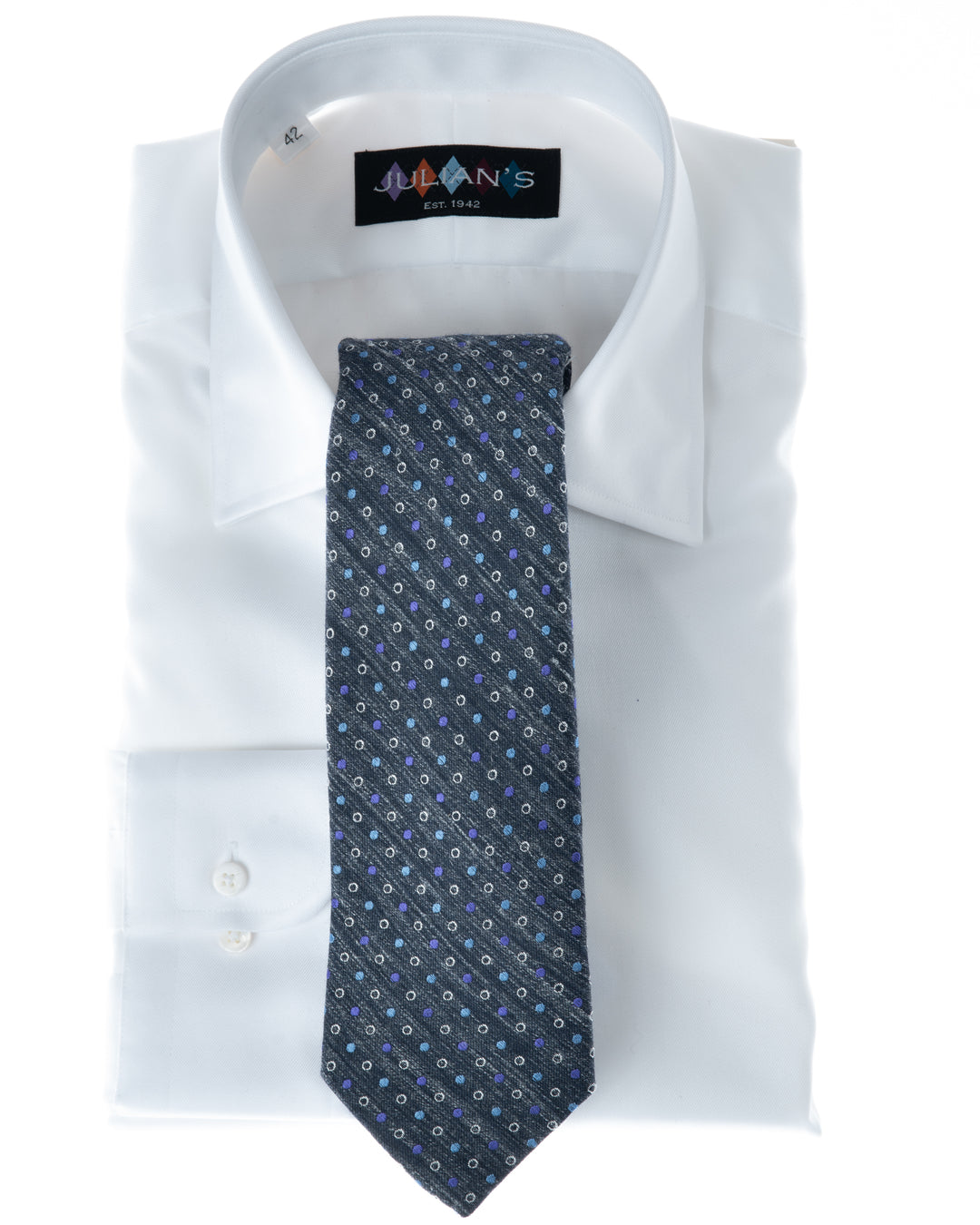Charcoal, Purple, Carolina Blue and Cream Dots Tie