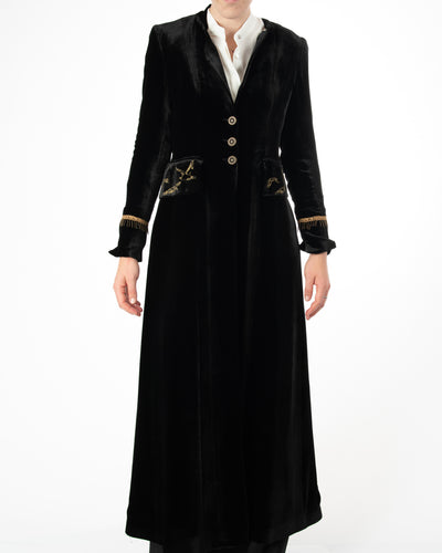 Duck Long Velvet Black Coat