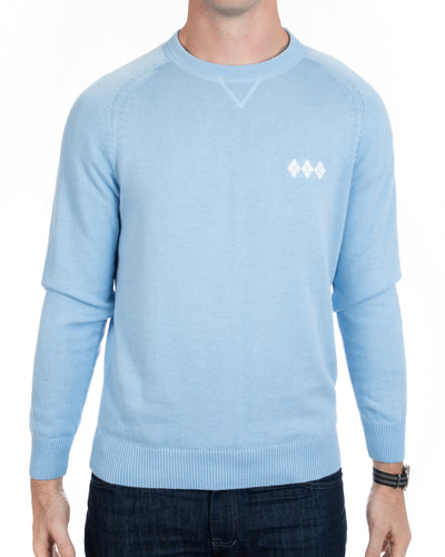 Pima Cotton Sweatshirt with Embroidered  Argyle