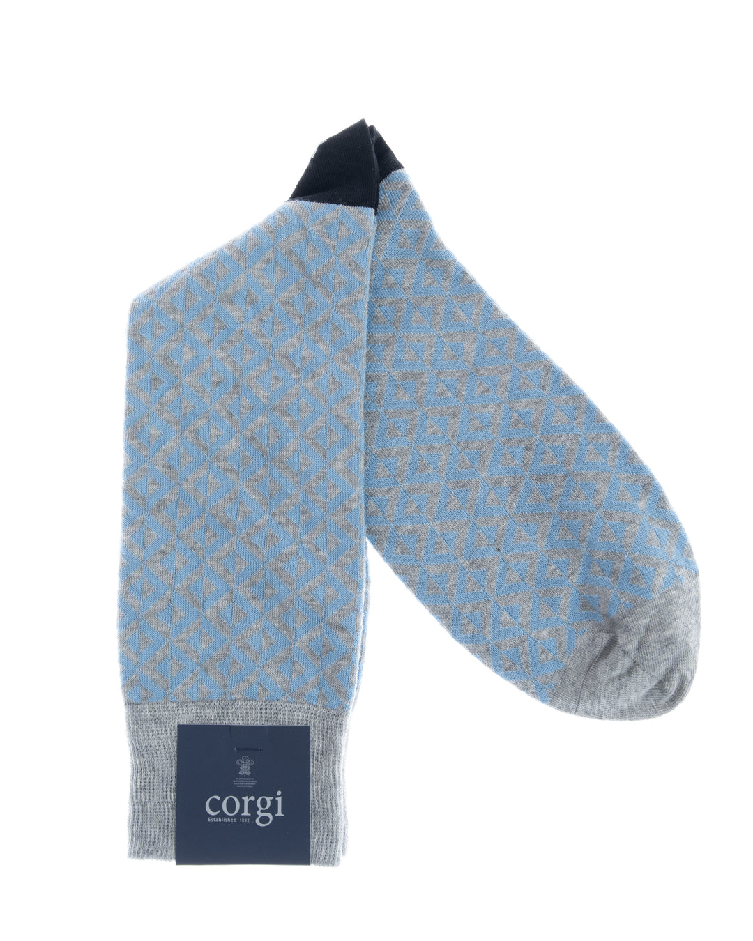 Lt.Blue & Grey Geometric Motif Cotton Socks