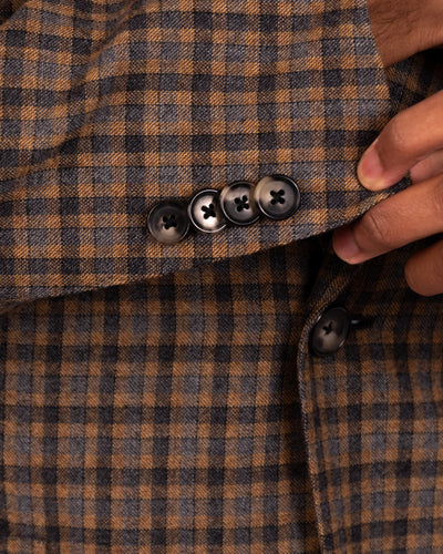 Camel with Grey and Charcoal Guncheck Sportcoat