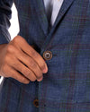Loro Piana Ink Blue, Purple and Green Windowpane Sportcoat