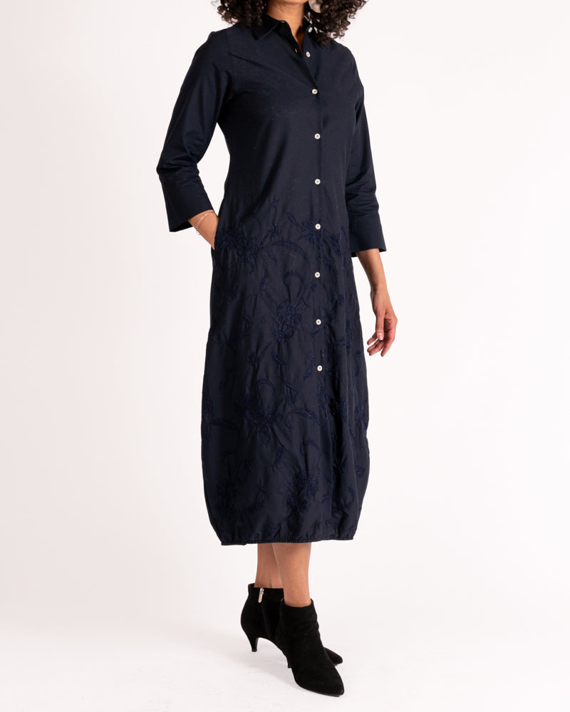 Navy Cotton Balloon Dress with Embroidered Skirt