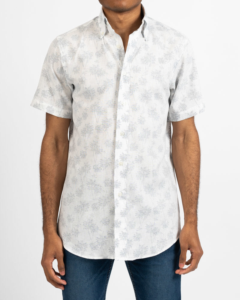 Palm Trees Short Sleeve Linen Shirt