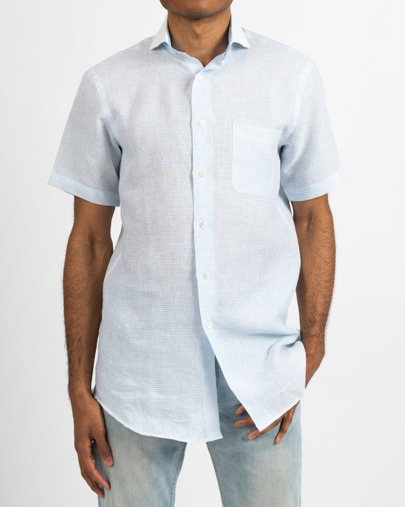 Lt.Blue/White Horizontal Stripe Short Sleeve Linen Shirt