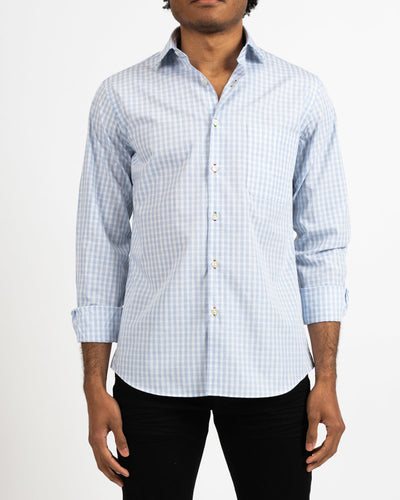 Heather Blue Gingham Shirt