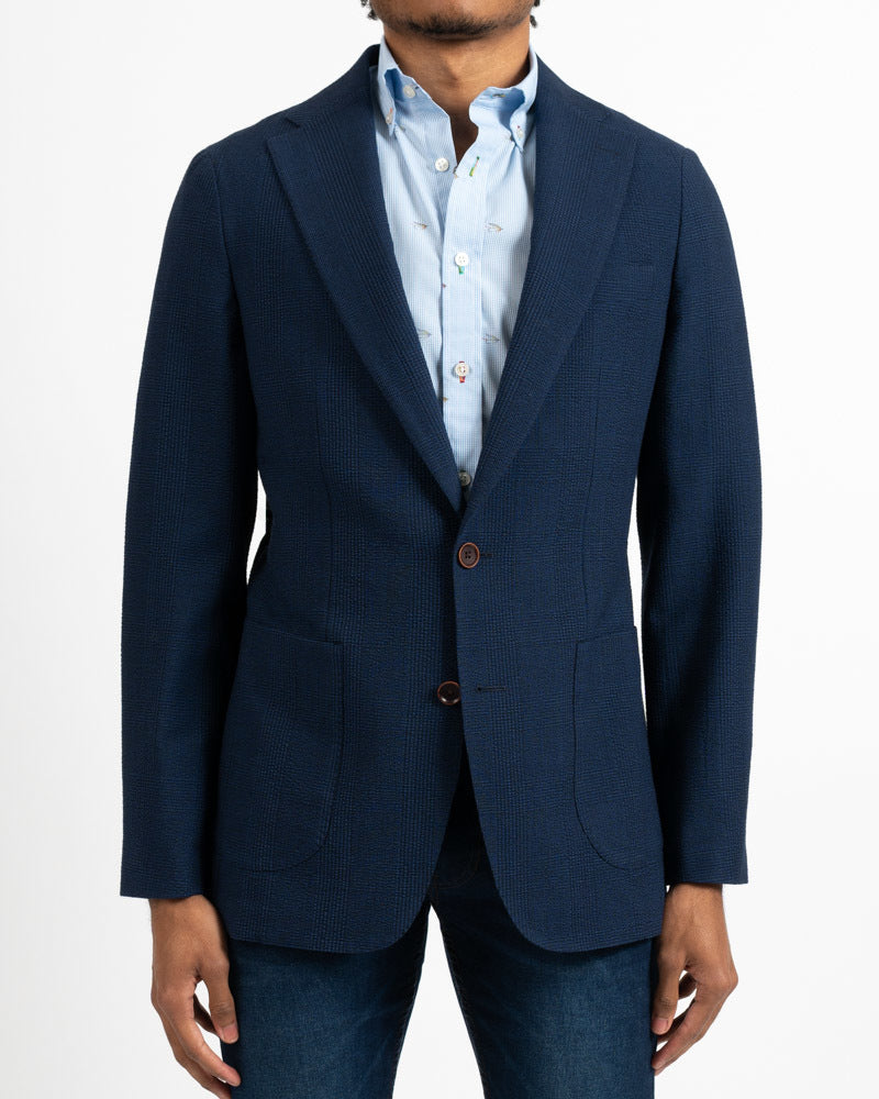 Botto Royal Blue Glenurquhart Plaid Stretch Sportcoat