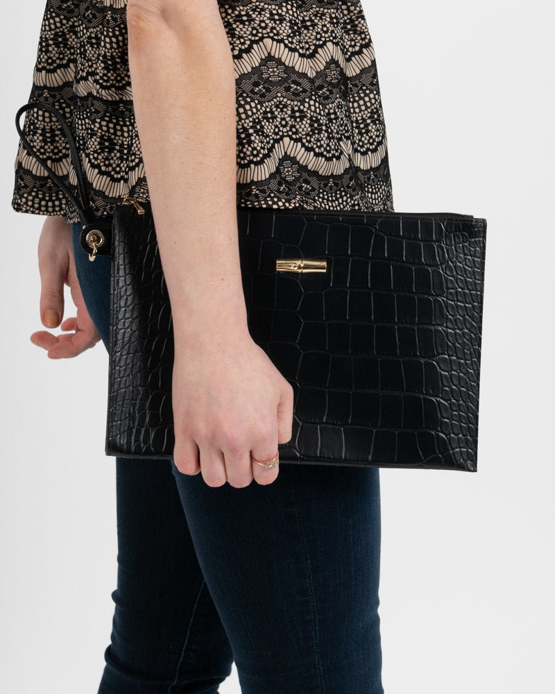 RO Crocodile Wristlet Black
