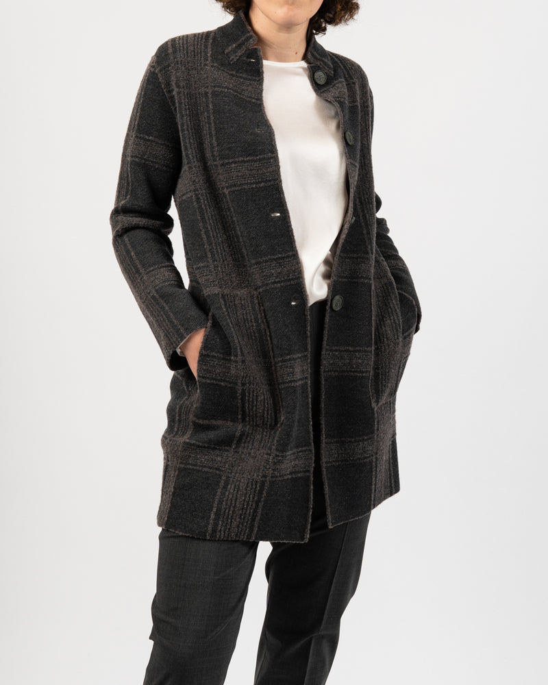 Reversible Long Plaid Coat