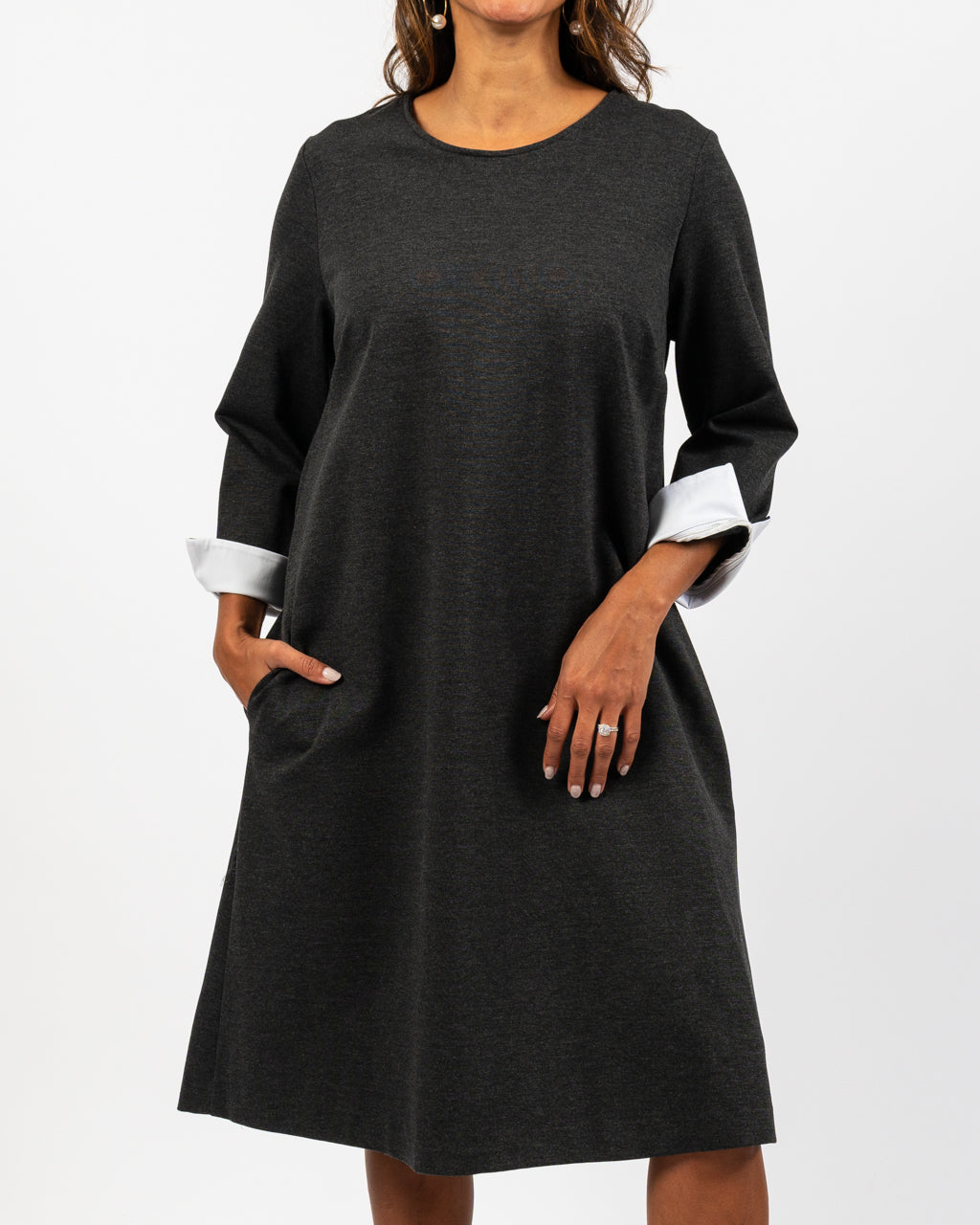 Charcoal Dress with Contrast Cuff