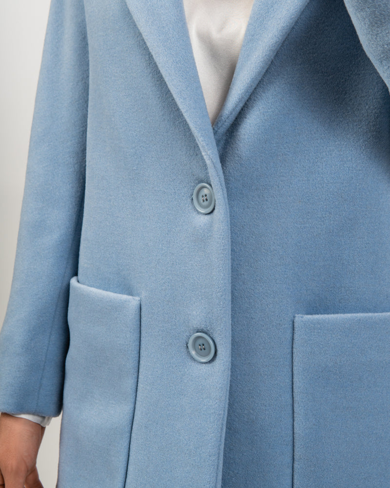 Carolina Blue Wool Cashmere Coat