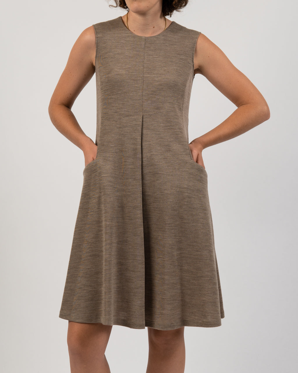 Sleeveless Wool Beige Dress