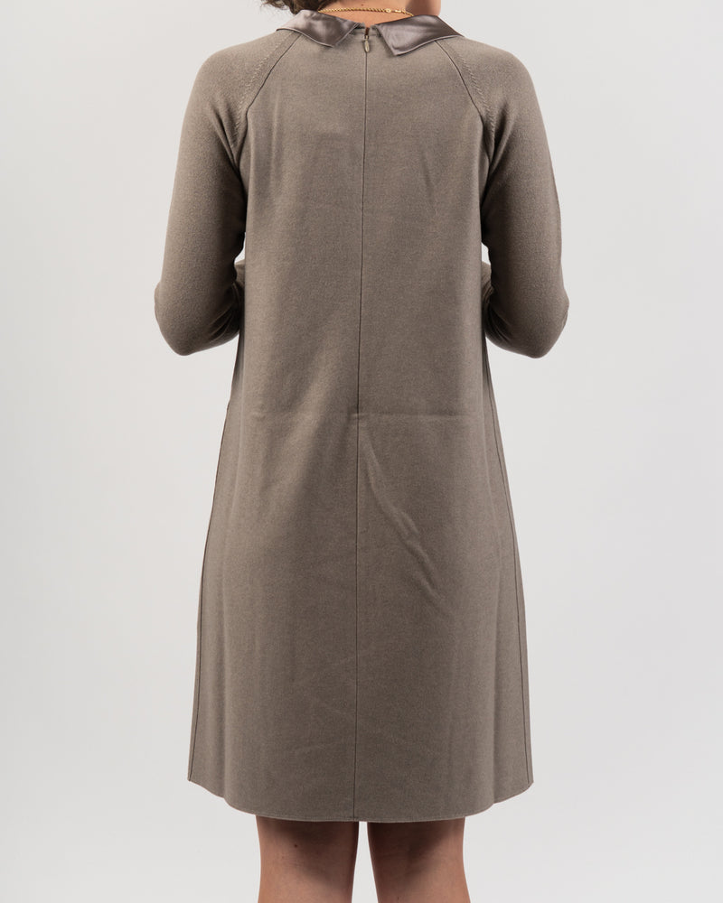 A-line Dress with Satin Cowl Neck