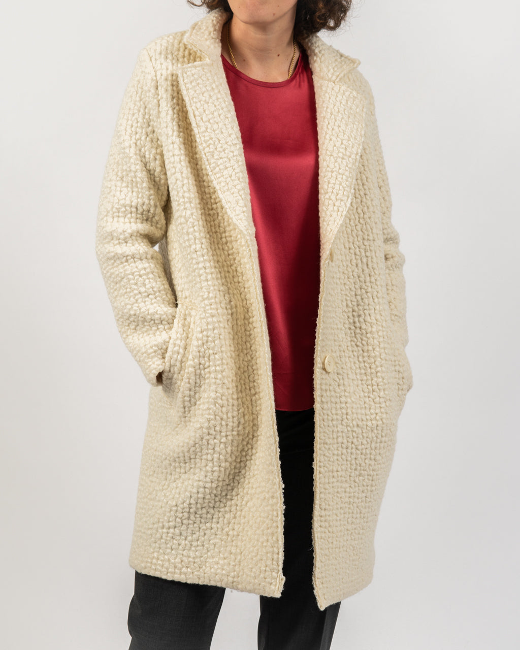 Nubby Cream Wool Coat