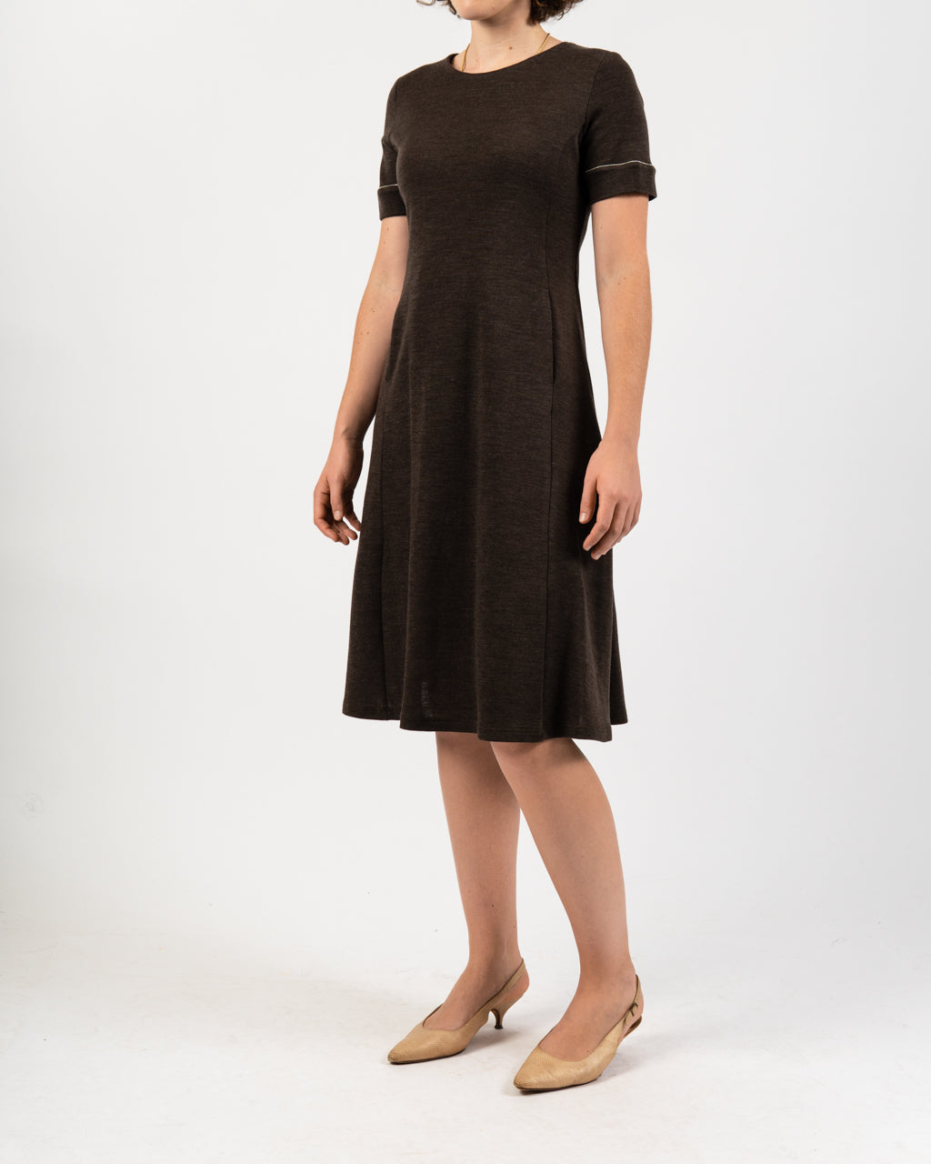 Brown Short Sleeve Swing Dress