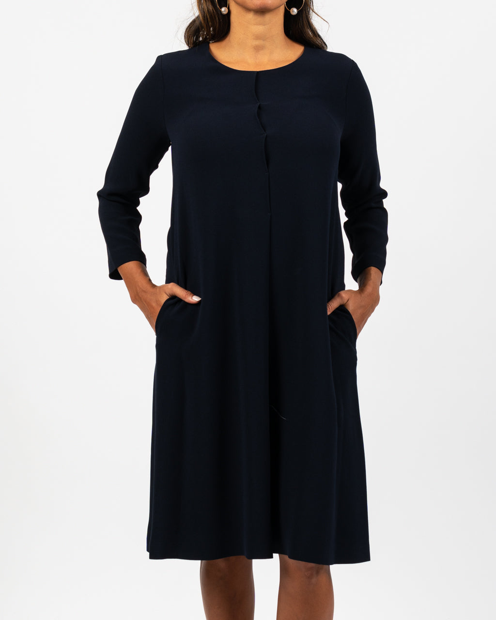 Navy Crepe Swing Dress