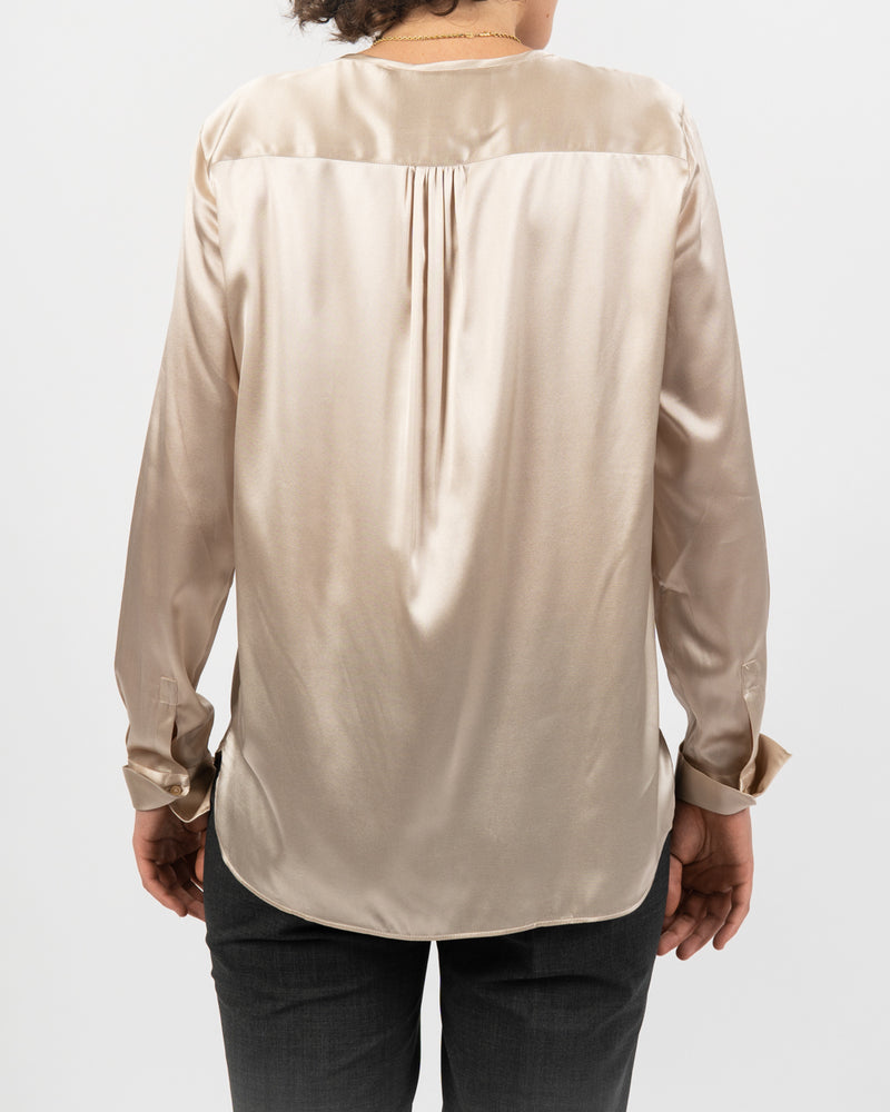 Silk Stretch Button Front Blouse