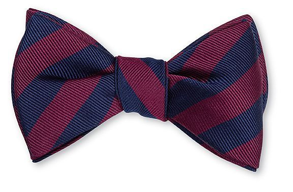 Navy & Burgundy Bar Stripe Bowtie