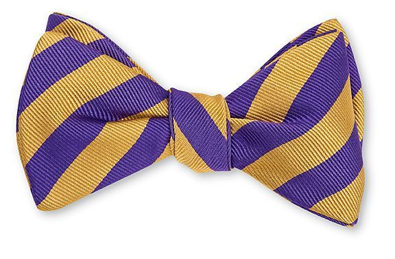 Purple & Gold Bar Stripe Bowtie