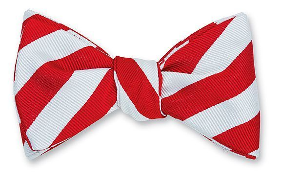 Red & White Bar Stripe Bowtie