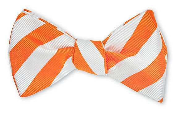 Orange & White Bar Stripe Bowtie
